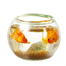 Goldfish in Bowl g7777 Miniatures World yellow bottom Dollhouse Miniature - $14.99