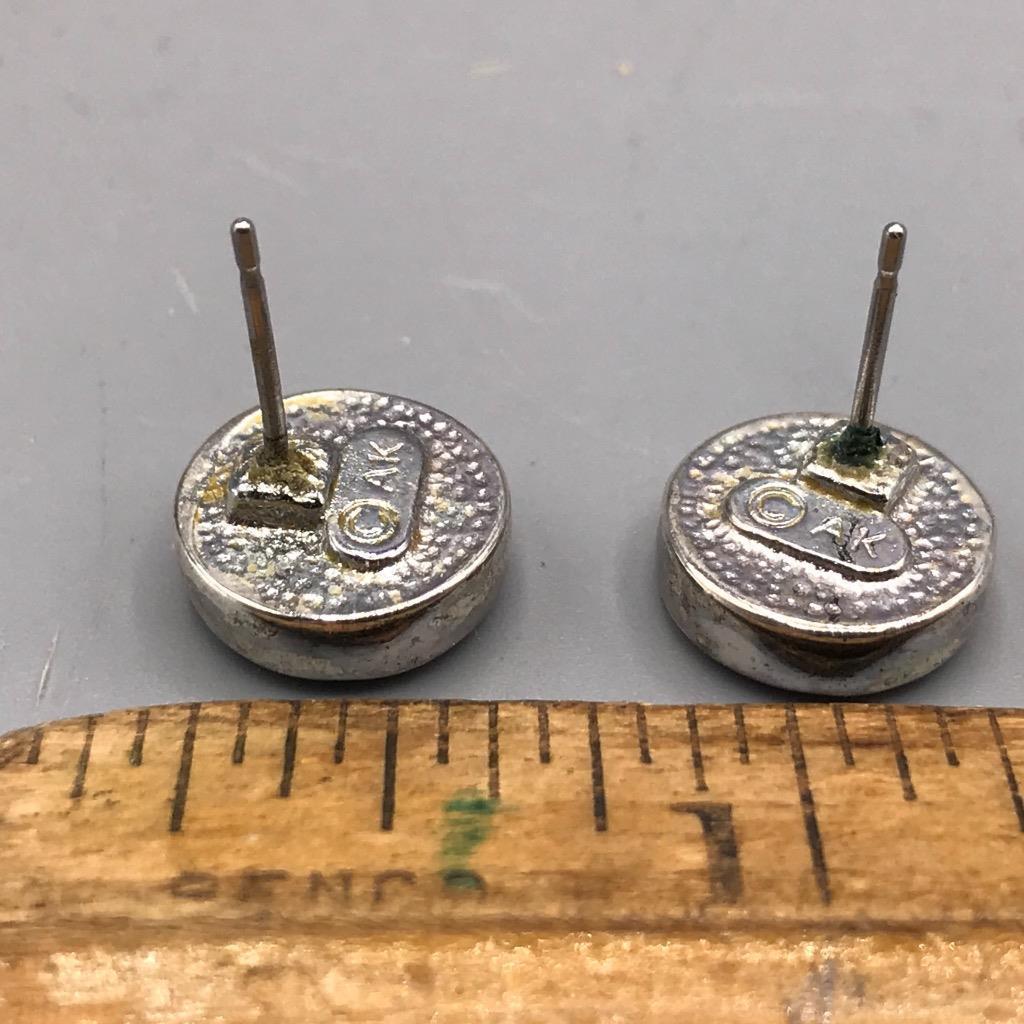 Vintage Anne Kleine Silver Tone Post Pierced Earrings