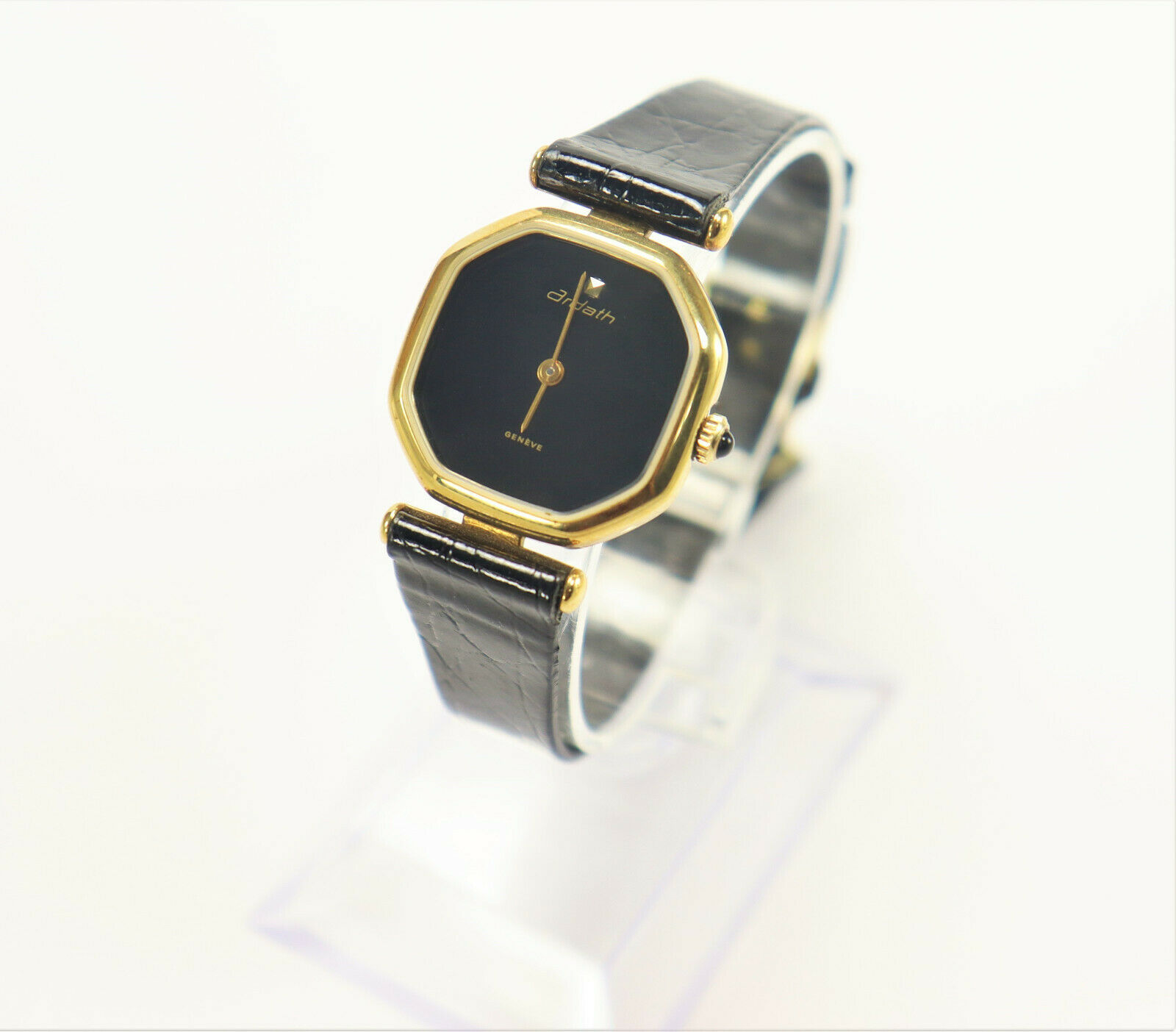 Primary image for Ardath Ladies Swiss Made Black Leather Gold Plated Watch 1980's Vintage New