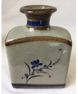 """Blue and Brown Square Pottery Vase Flask Signed LN or IN 7 1/2"""" - $39.95"""