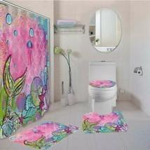Pink Blue Mermaid Bathroom Shower Curtain Toilet Seat Cover Rug Set - $60.89