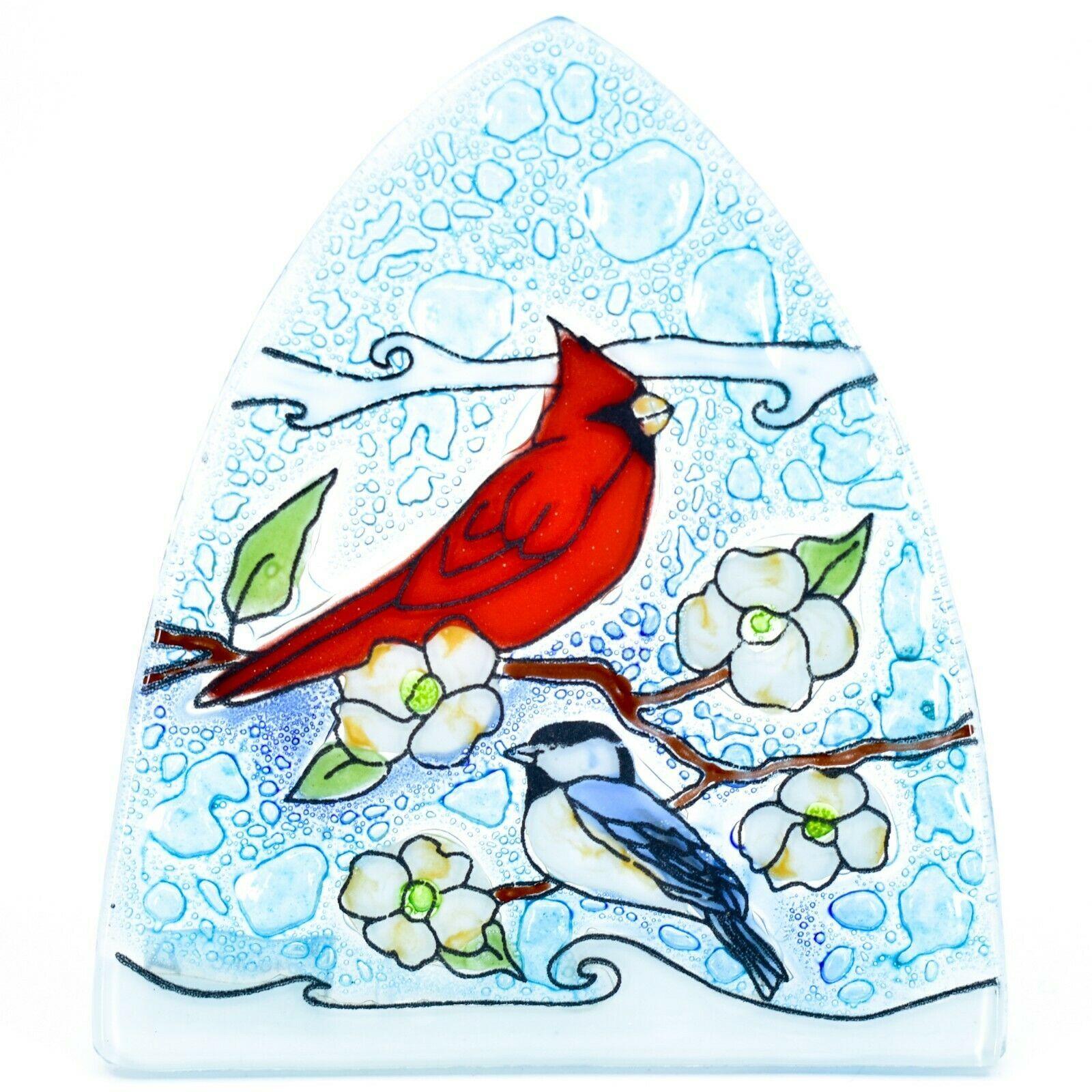Fused Art Glass Cardinal Chickadee Bird Nightlight Night Light Handmade Ecuador