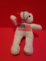 Toy Holiday Plush White Teddy Bear Patriotic Stuffed Animal US Flag July... - $5.69