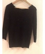 Daytrip From The Buckle 3/4 Length Sleeve Black Sparkly Sweater Sz M Medium - $14.95