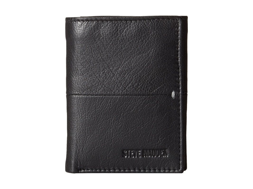 NEW STEVE MADDEN MEN'S PREMIUM LEATHER TRIFOLD ID WALLET BLACK N80028/08