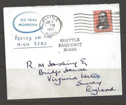 1967 Paquebot Cover, Liberia stamp used in Seattle, Washington - $5.00