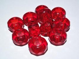 6(Six) 8 x 14 mm Large Hole Rondelle Beads: Light Siam - $2.57