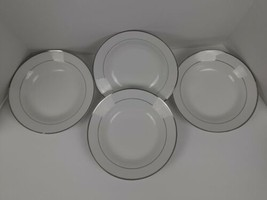 Set Of 4 Vintage Silver Striped White Gibson Cereal Soup Bowls / see pictures - $11.30