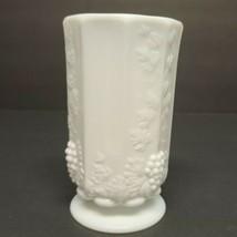 Vintage Westmorland Milk Glass Footed Paneled Vase Grape Motiff - $17.41