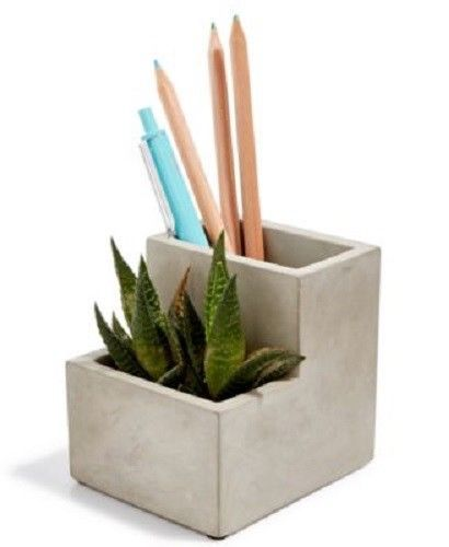 Kikkerland Desktop Planter And Pen Pencil Holder Grey ONE SIZE Gift Idea