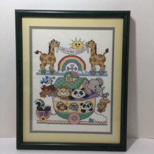 "Primary image for Noah's Ark Finished Framed Cross Stitch Praise God Toys 15"" x 12"""