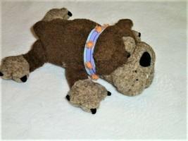 Manhattan Toy BULLDOG Brown Tan Puppy Dog 10in Laying Plush 2001 Studded... - $13.85
