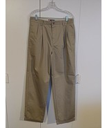CHAPS MEN'S TAN PLEATED/CUFFED KHAKI PANTS-32x32-WORN/WASHED ONCE-100% COTTON  - $8.90
