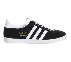 Adidas Originale Mens Gazelle Og Schwarz Weiß Metallic Gold Turnschuhe - $124.94