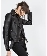 New 100% Real Women Lambskin Genuine Soft Leather Motorcycle Jacket Blac... - $144.30+