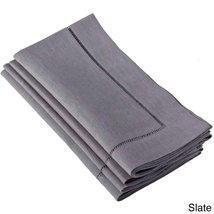 Fennco Styles Hemstitched Dinner Napkin, Set of 4 (slate) - $24.74