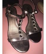 Fioni Night {Women Size 6} Silver Strappy Sandal High Heel Shoe - $18.62