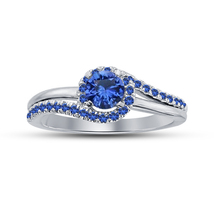 Promise Engagement Ring In White Gold Plated 925 Silver Round Cut Blue Sapphire - £52.92 GBP