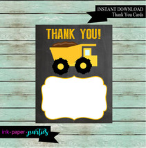 Printable Construction Dump Truck Birthday Thank You Note Cards - DIY - ... - $2.00