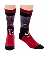 Deadpool Sublimated Panel Marled Crew Sock New Men's Size 10-13 Marvel F... - $9.95