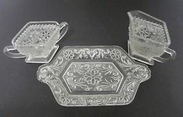 Indiana Glass Tiara Sandwich Pattern Sugar & Creamer with Tabbed Tray Crystal - $20.67