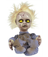 BLONDE CREEPY DOLL ANIMATED Kicking Screaming Baby Boy Halloween Prop De... - $29.17