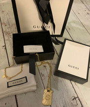 Gold Gucci Necklace With Textured Logo Pendant - $495.00