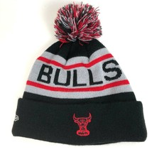 Chicago Bulls New Era Beanie Ski Hat Black Knit Embroidered Pom Pom - $23.68