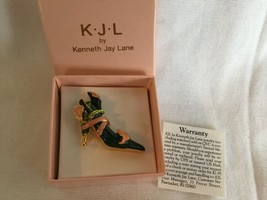 KJL Kenneth Jay Lane Gold Tone Pink Enamel Calla- lily High Heel Shoe Pi... - $15.17