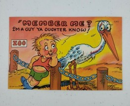 Curt Teich Comic Linen Postcard 'Member Me? Stork Baby 1952 C-812 CHICAGO  - $7.00