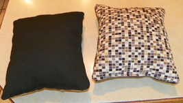 Pair of Black Tan Cream Check Print Throw Pillows  10 x 10 - $29.95