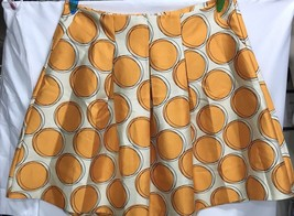New LANE BRYANT Skirt Size 26 Flare Orange Polka Dot Circles Beige Zippe... - $24.18