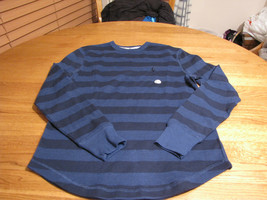 Uomo Volcom Stone Surf Skate Marca T-Shirt Manica Lunga SMALL S Multi Righe Blu - $13.36