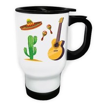 Mexico City Sombrero White/Steel Travel 14oz Mug v566t - $17.79