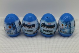 Lot of 4 Marvel Avengers Jumbo Plastic Eggs 40 Stickers New Sealed - $13.36