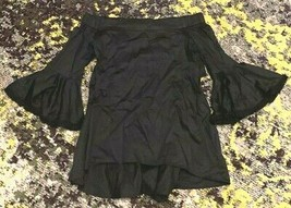 N / NICHOLAS Black Shirt Off Shoulder Bell Sleeves Open Back sz US 6 - $29.66