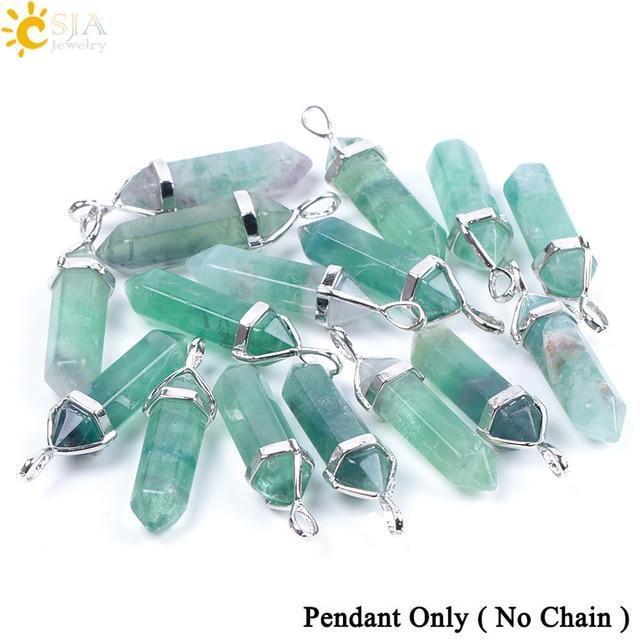 CSJA Fluorite Necklace Pendant Natural Gem Stone Quartz Bullet Hexagonal Point P