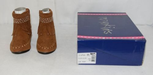 I Love Yo Kids AVA 78K Girls Fringe Boot Rust Silver Studded Size 11