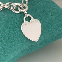"""7"""" Small Tiffany & Co Sterling Silver Blank Heart Tag Charm Bracelet - $195.00"""