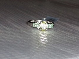 Rare Green Sillimanite Oval & Alexandrite Round Ring, Silver, Size 7, 1.... - $89.99