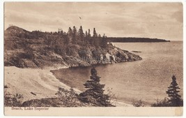 Scenic Beach at Lake Superior, Ontario, Canada - 1910s vintage postcard - $3.50