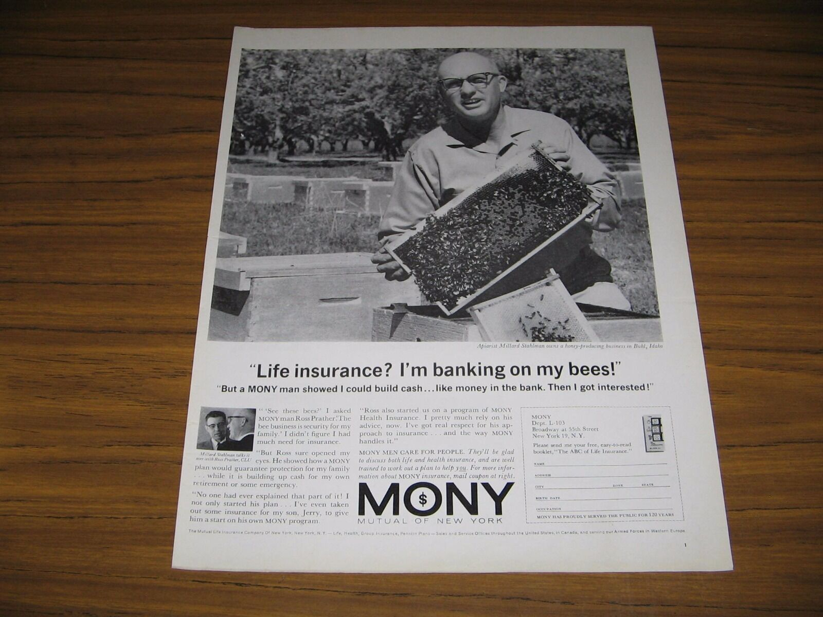 Primary image for 1963 Print Ad MONY Mutual of New York Life Insurance Bee Keeper & Bees