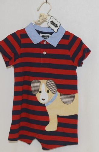 MudPie Puppy Polo One Piece Red Blue Cambray Collar 12 to 18 Months
