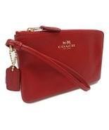 NEW! Authentic! COACH Leather Corner Zip Wristlet True Red - $89.08