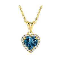 "14K Yellow Gold Over Halo Heart Shape Blue Topaz Pendant Necklace Chain 18"" - $46.74"