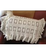 Hand crocheted dainty baby blanket with ruffles and bows - $50.00