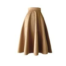 Women Suede Midi Holiday Skirt Autumn Winter A-line Midi Skirt, Camel Green,Plus image 1
