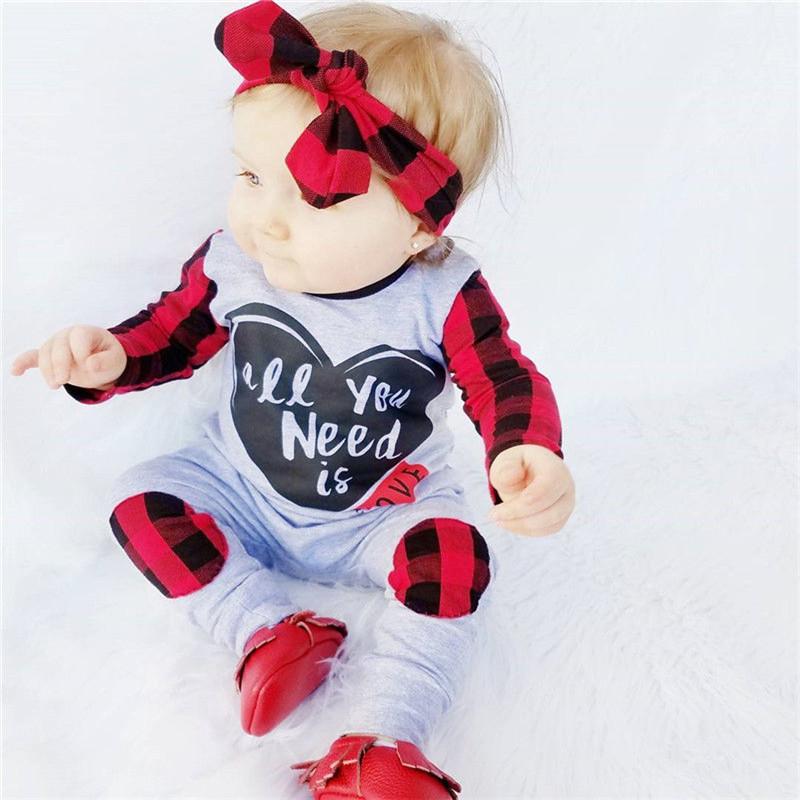 Brand 2017 Autumn Toddle Newborn Baby Boy Girl Long Sleeve Romper Plaid Body sui - $22.90