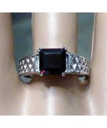 Garnet Ring 925 Sterling Silver Princess Cut Shape Stamped Birthstone Si... - $35.00