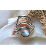 Sterling Silver Rainbow Moonstone  Ring 3.71g Size 6.5  - $20.00